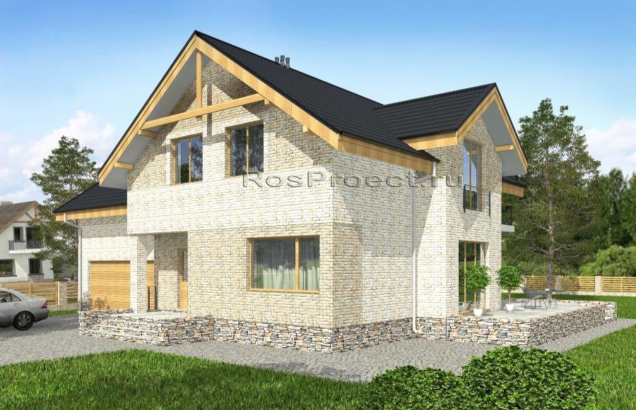 Проекты домов с мансардой из пеноблоков, газоблоков, пенобет.